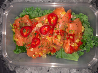 Salmon with chilli garlic honey ginger sesemy